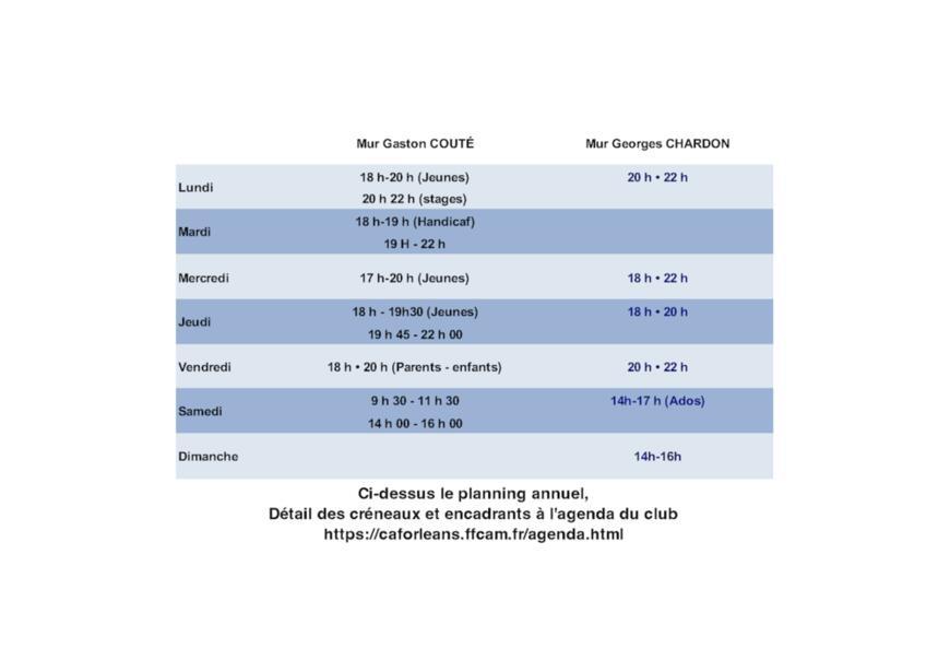 Murs d'escalade : créneaux horaires (hors été)